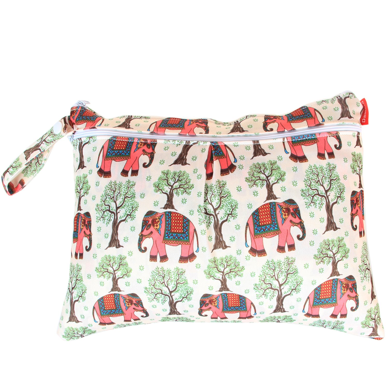 Damero 3 St/ück//Set Windeltasche mit wiederverwendbarem Stoff Wetbag Feuchtt/ücher Organiser Beutel Elefant