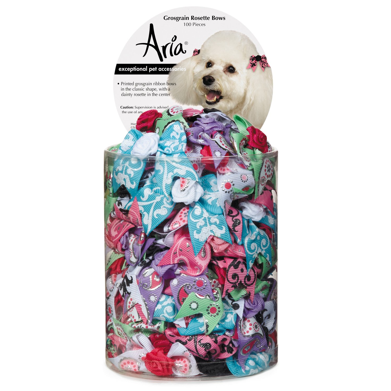 Aria Grosgrain Rosette 100 Piece Bows for Dogs by Aria