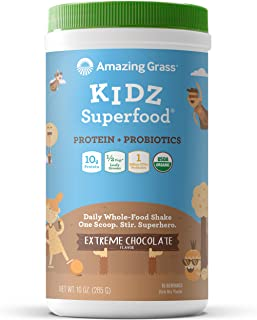 product image for Amazing Grass Kidz Superfood: Vegan Protein & Probiotics for Kids with 1/2 Cup of Leafy Greens, Extreme Chocolate, 15 Servings