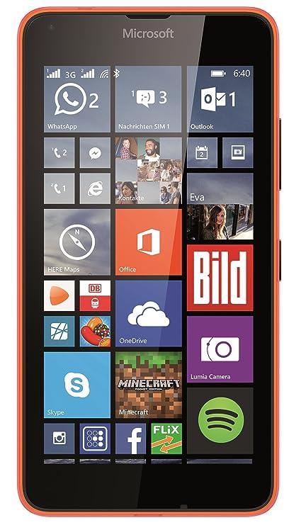 Microsoft Lumia 640 Dual-SIM Smartphone (5 Zoll (12,7 cm) Touch-Display, 8 GB Speicher, Windows 10) Neon Orange