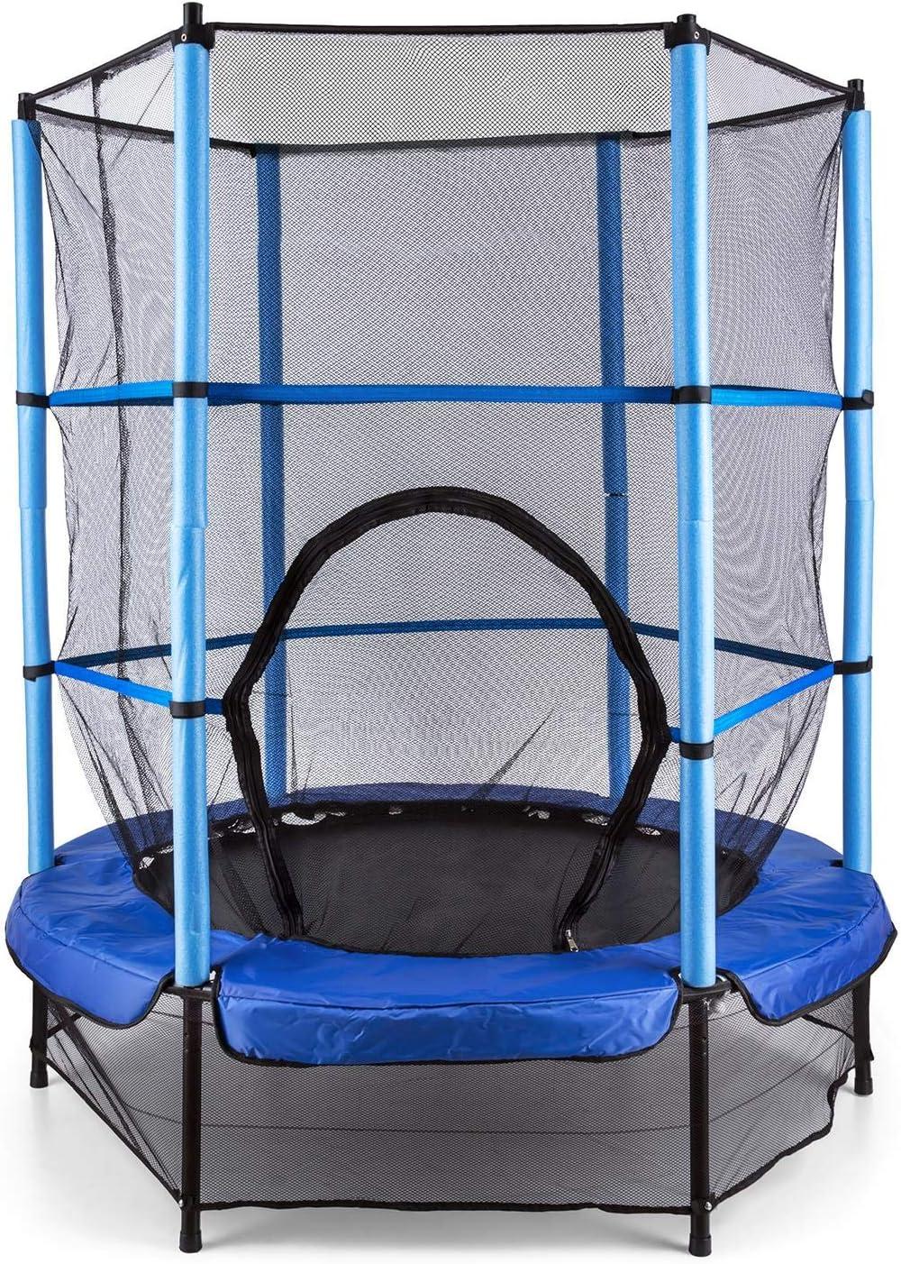 Klarfit Rocketkid Blue Edition - Cama eslástica, Cama elástica Infantil, A Partir de 3 años, 140 cm, Red de Seguridad, Suspensión de Cuerda elástica, Carga máx. 50 kg, Borde Acolchado, Azul