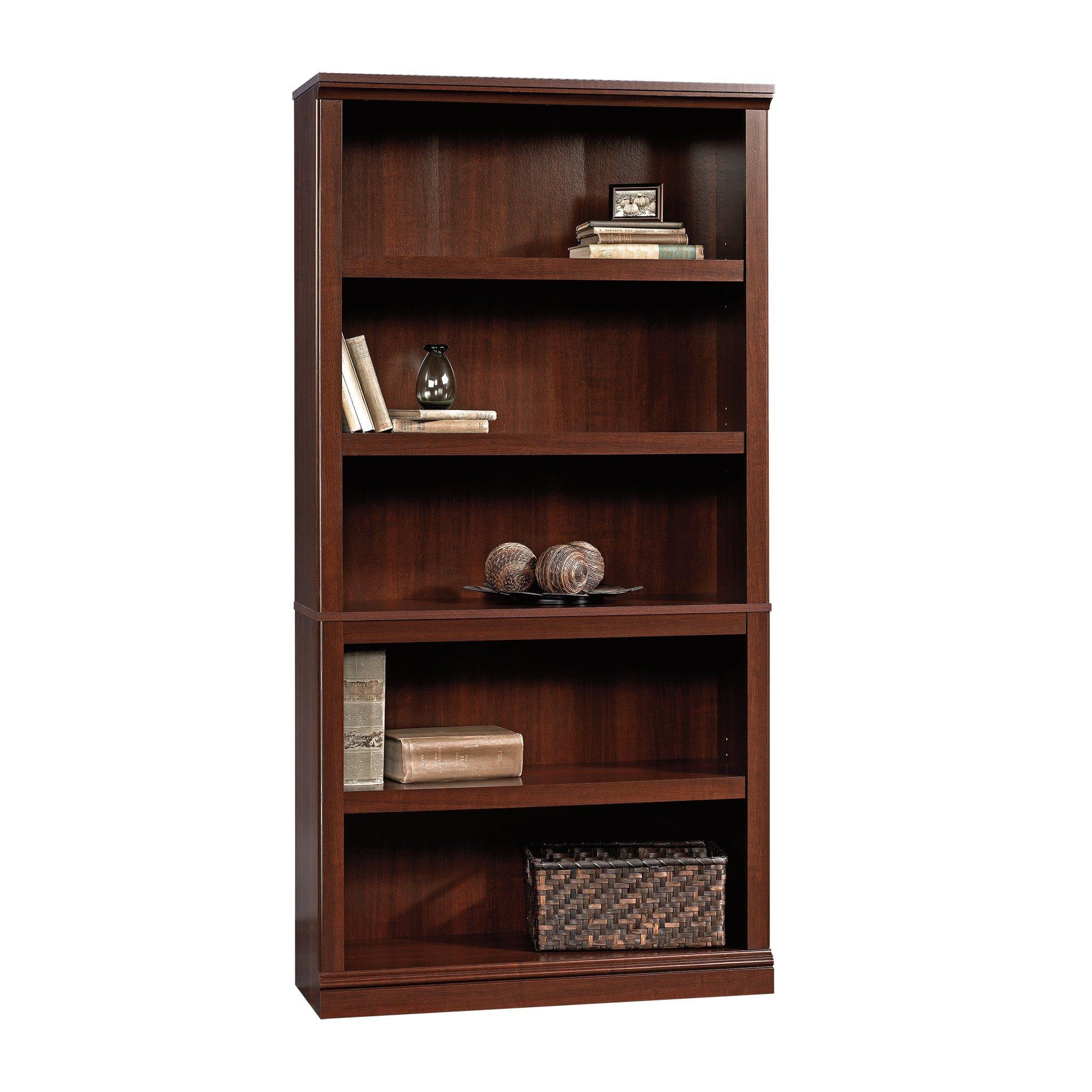Sauder 5-Shelf Bookcase, Select Cherry Finish