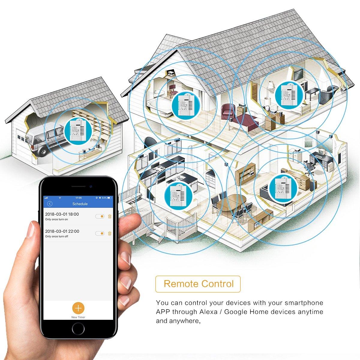 16A ONEVER Sans fil WiFi Smart Switch travail Module avec Alexa Google Accueil minuterie Control vocal distance pour Android IOS
