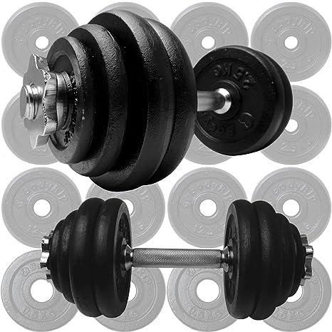 Hierro fundido BodyRip 30 kg mancuernas piezas 18 placas pesadas 35,56 cm bares y