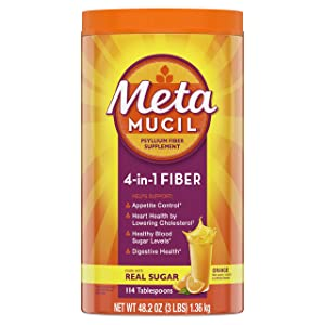 Metamucil Fiber, 4-in-1 Psyllium Fiber Supplement Powder with Real Sugar, Orange Smooth Flavored Drink, 114 Servings (Packaging May Vary)