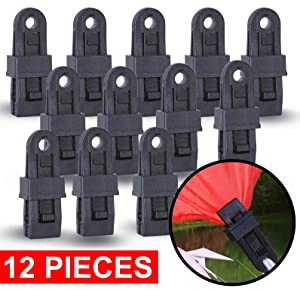 Wellmax Heavy Duty Tarp Clips 12 Pieces, Multi-Purpose Awning Clamps Set with Strong Lock Grip for Holding Up Tarp, Canopy, Sun Shade, Car Cover, Boat Cover and Pool Cover