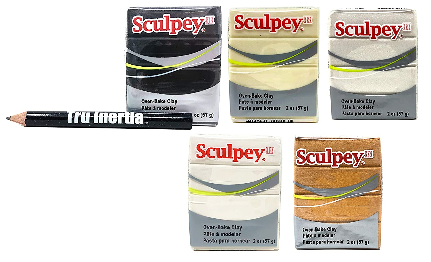 Sculpey III Oven-Bake Clay 2 Ounce Variety Pack of 5 – Glow in The Dark, White, Black, Gold, Pearl Clay Variety with Tru Inertia Pencil