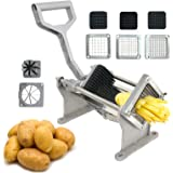 F2C Stainless Steel Potato Fruit Vegetable Slicer French Fry Cutter Commercial Use with 1/6 inch 1/4 inch 1/2 inch Blades and 8-Cut Fruit Blade
