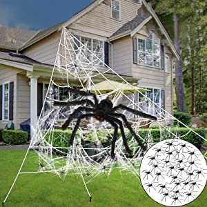 "TURNMEON 17FT Large Triangular Spider Web Decorations Outdoor with 20"" Giant Black Spider, 200 sqft Super Stretch Cobweb and 20 Fake Spider Halloween Indoor Outside Creepy Decor for Yard Scary"