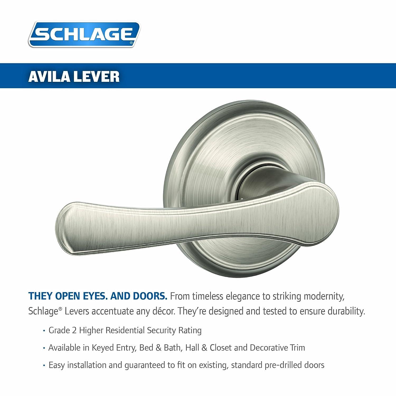 Antique Brass Schlage Lock Company Schlage F40 VLA 609 16-080 10-027 134 N N SL Avila Bed and Bath Lever
