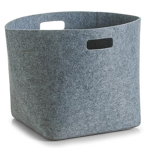 zeller 32 x 32 x 32 cm angular felt basket grey kitchen home. Black Bedroom Furniture Sets. Home Design Ideas