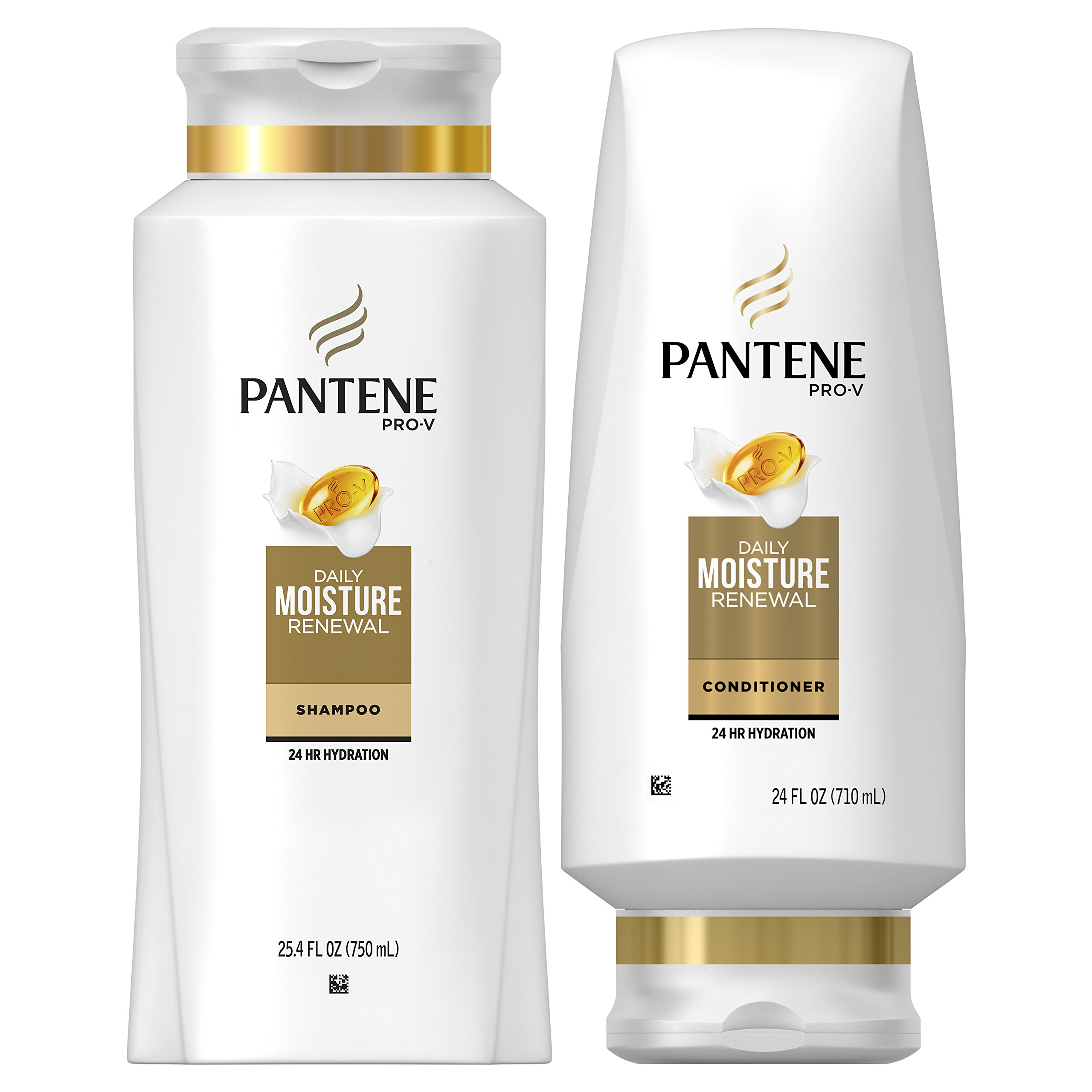 Pantene Moisturizing Shampoo 25.4 OZ and Sulfate Free Conditioner 24 OZ for Dry Hair, Daily Moisture Renewal, Bundle Pack (Packaging May Vary) by Pantene