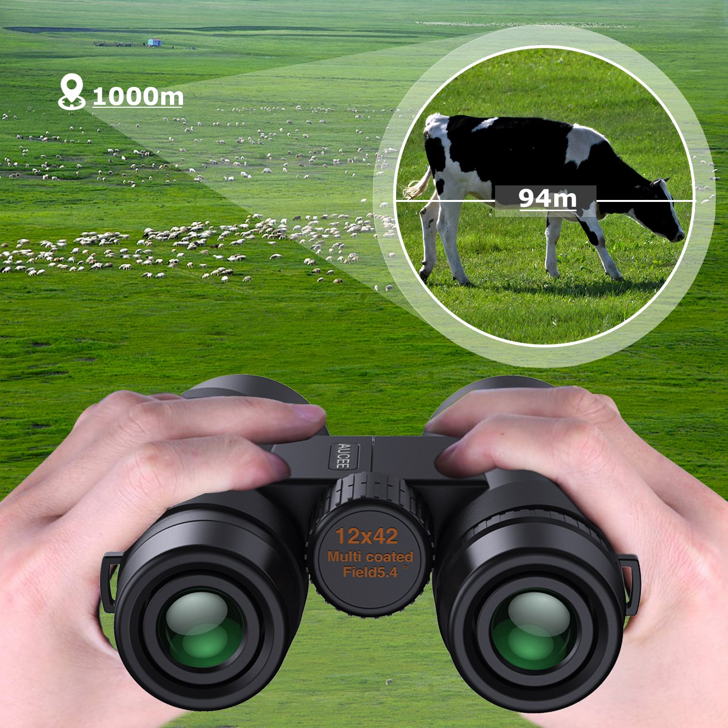 12 x 42 Binoculars for Adults, AUCEE Compact Binoculars for Bird Watching Concerts Football Sports Waterproof Professional HD Binoculars for Travel Hiking-BAK4 Prism FMC Lens with Strap Carry Bag by AUCEE (Image #5)