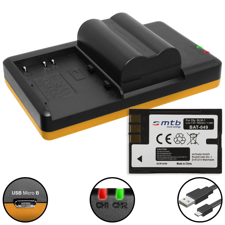 2 Baterías + Cargador doble (USB) para BLM-1 / Olympus E-3, E-5, E-30, E-300, E-330, E-520 / C-7070, C-8080 … v.lista - contiene cable micro USB C-8080 ... v.lista - contiene cable micro USB mtb more energy 2SBD-066
