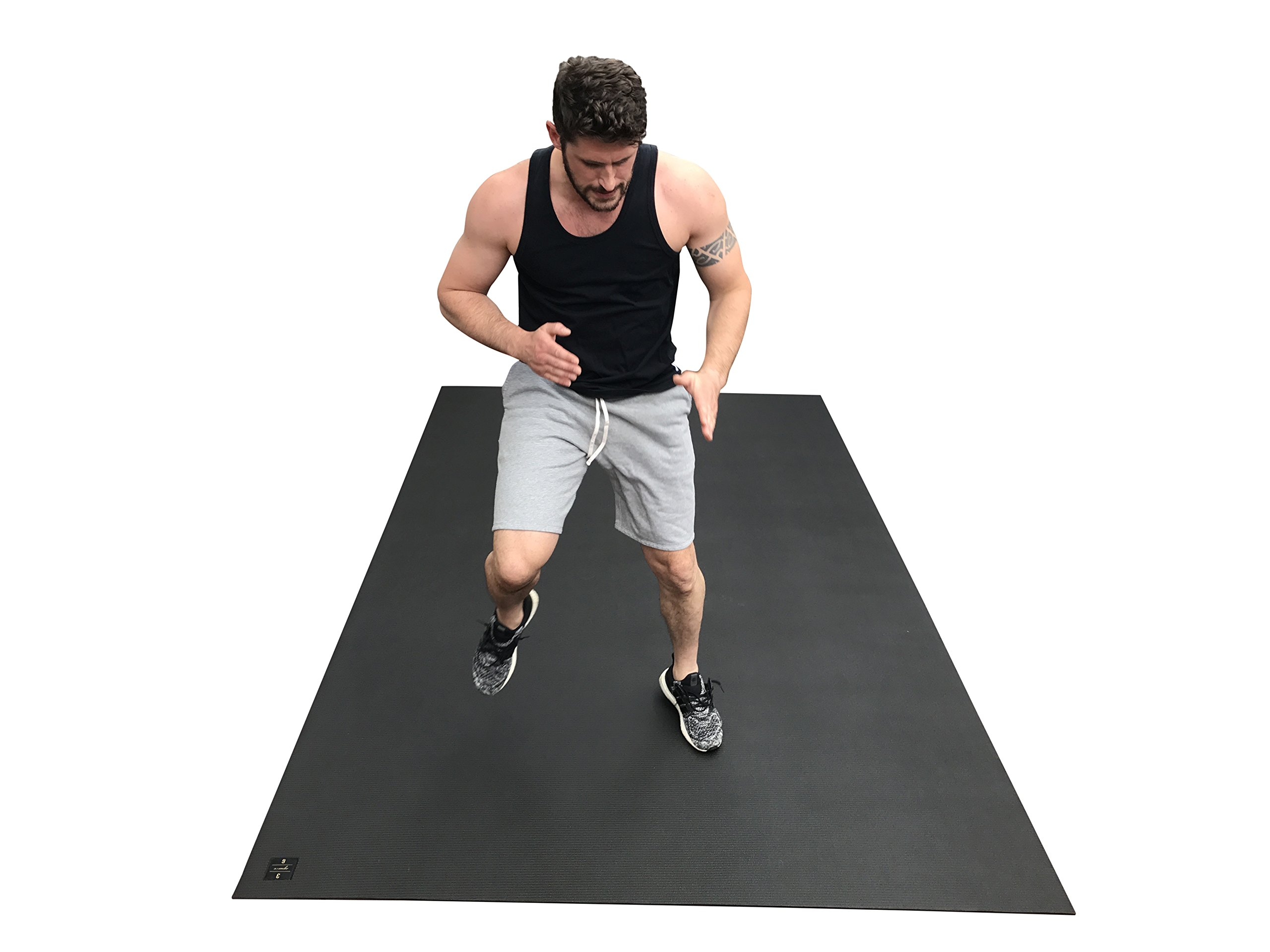 Large Exercise Mat 10 Ft X 6 Ft (120'' x 72'' x 1/4''). Designed For Cardio Workouts WITH Shoes. Perfect For MMA, Cardio And Plyometric Workouts. Ideal For Home Gyms Or Living Room Workouts. Square36 by Square36 (Image #7)