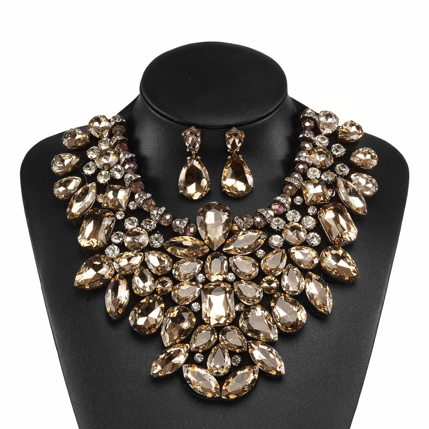 Holylove Champagne Costume Statement Necklace with Earrings for Women Jewelry Fashion Necklace 1 Set with Gift Box-HLN8455E-Champagne