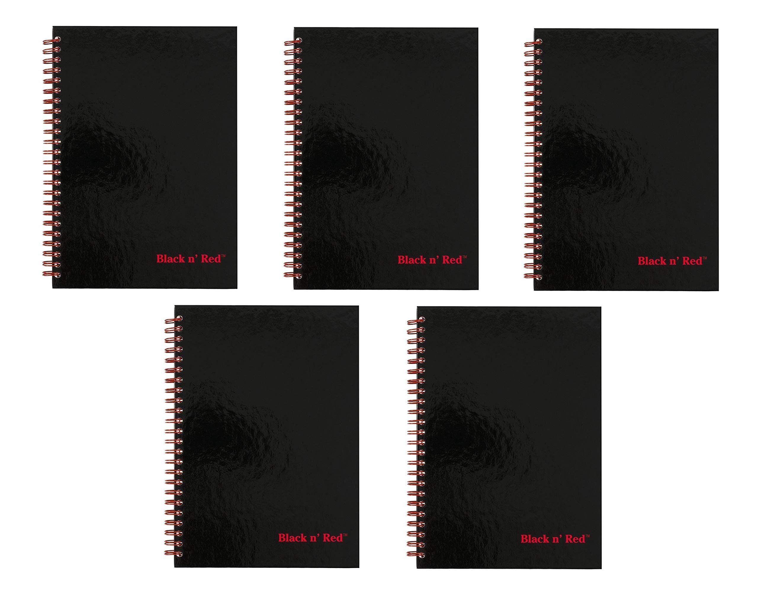 Black n' Red Twin Wire Hardcover Notebook, 8-1/4'' x 5-7/8'', Black/Red, 70 Ruled Sheets, Sold as 5 Pack (L67000) by Black n' Red