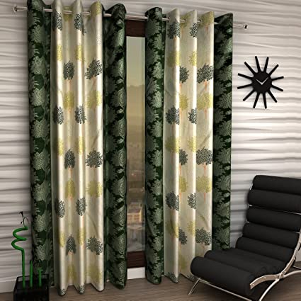 Home Sizzler 2 Piece Eyelet Polyester Window Curtain Set - 5ft, Green