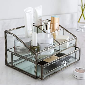 Makeup Organizer Cosmetic And Jewelry Display Boxes With Drawers Black Home Improvement