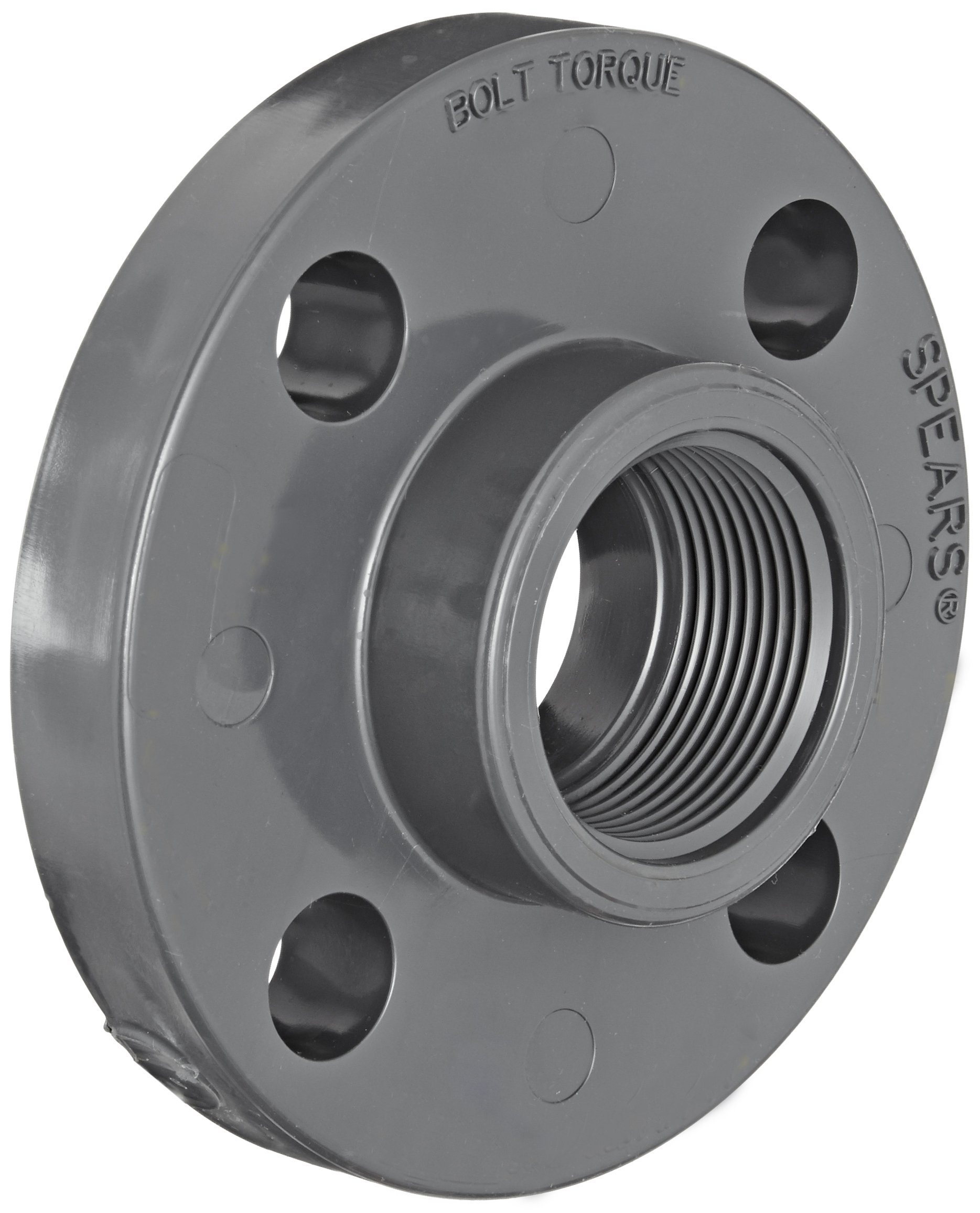 Spears 852 Series PVC Pipe Fitting, One Piece Flange, Class 150, Schedule 80, 1'' NPT Female
