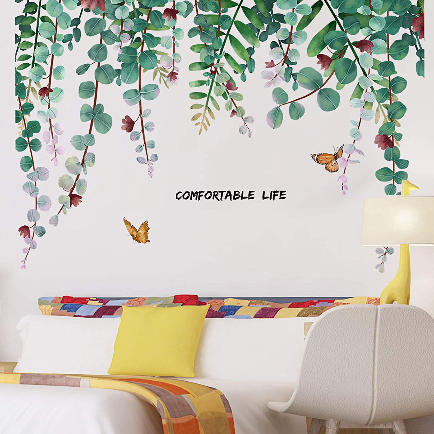 Amaonm Removable DIY 3D Green Hanging Leaves Home Wall Decoration art Decor Kids Room Wall Sticker Girls Teens Bedroom Living Room Wall Corner Wall Decals Nursery Rooms Walls Mural Peel Stick Decor (Leaf)