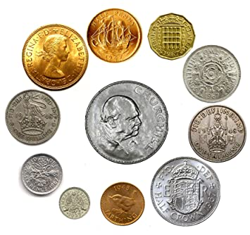 Fev's: A popular mix of old, authentic British coins - many uncirculated:  Penny, halfpenny, farthing, 3d (brass and silver), sixpence, both  shillings,