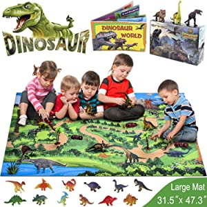 GINMIC Dinosaur Toys, 21 PCS Realistic Dinosaur Figures with Large 31.5 x 47.3 Inch Activity Play Mat & Trees, Including T-Rex, Triceratops, Velociraptor, Gift for 3, 4, 5, 6 Year Olds Boys Kids