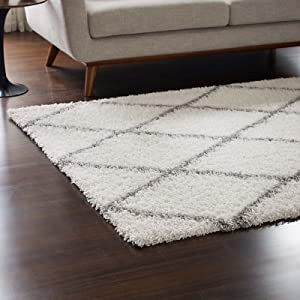 Modway Toryn Diamond Trellis 5x8 High Pile Shag Area Rug With Lattice Design In Ivory and Gray