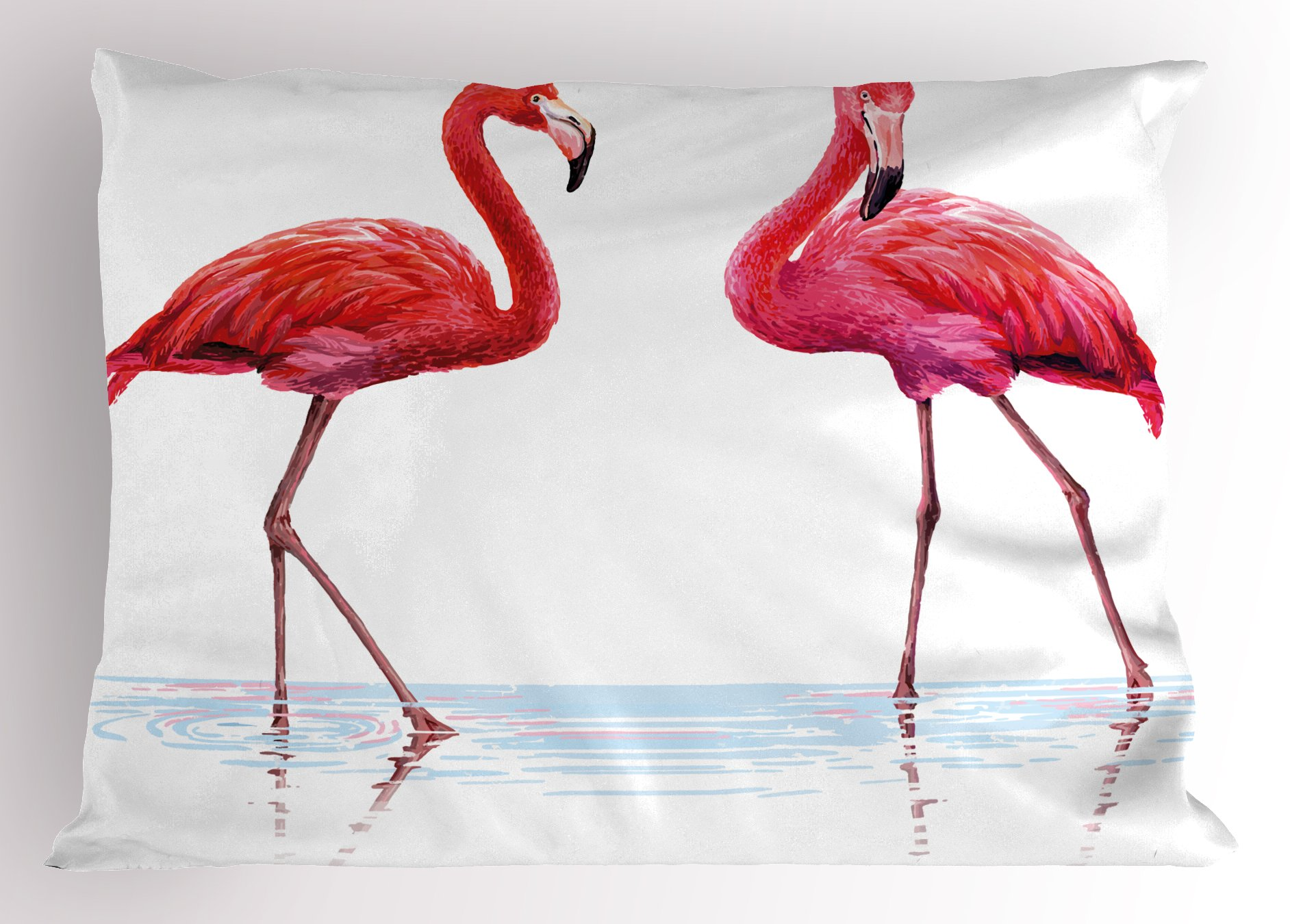 Ambesonne Animal Pillow Sham, Two Hand Drawn Flamingos in Pink Colors on Seaside Tropical Wildlife Artwork, Decorative Standard Size Printed Pillowcase, 26 X 20 inches, Orange Lavander