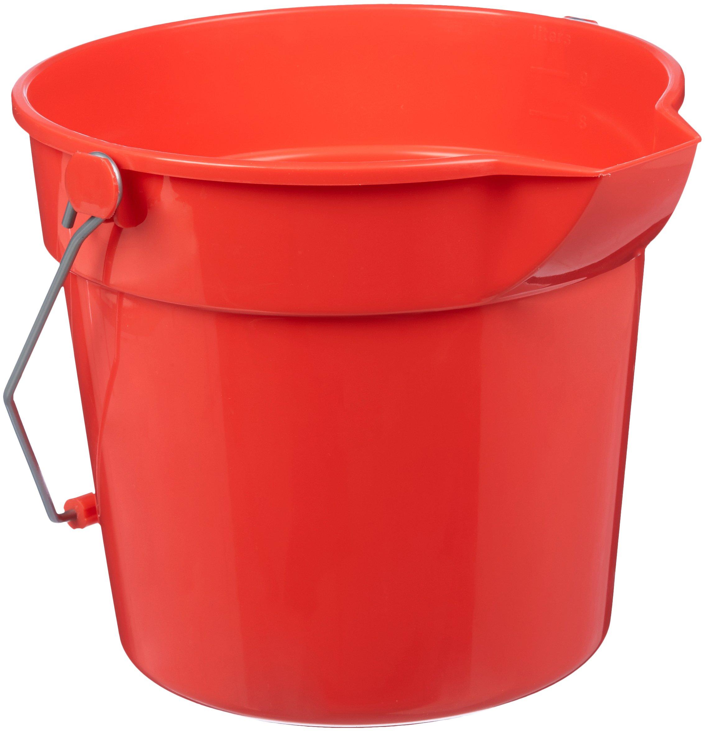 AmazonBasics 10 Quart Plastic Cleaning Bucket, Red - 6-Pack