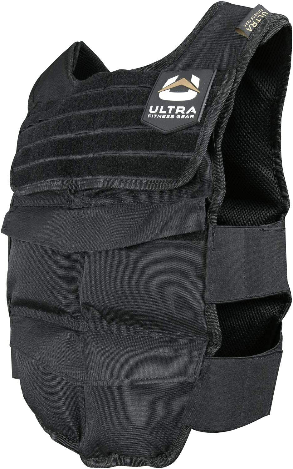 Ultra Fitness Gear Breathable Exercise Weighted Vest, 12 to 48 lbs Capacity, with Full Molle Webbing Chest Panel and Secure Straps, Weighted Workout Vest for Men and Women, Black