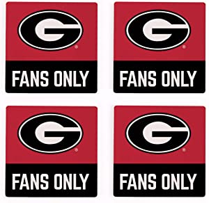 Fans Only University of Georgia Bulldogs NCAA Logo 4 x 4 Absorbent Ceramic Coasters Pack of 4
