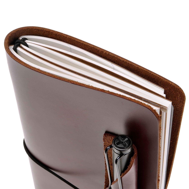diario stile vintage fatto a mano con porta penne Brown agenda in pelle Zlyc ricaricabile