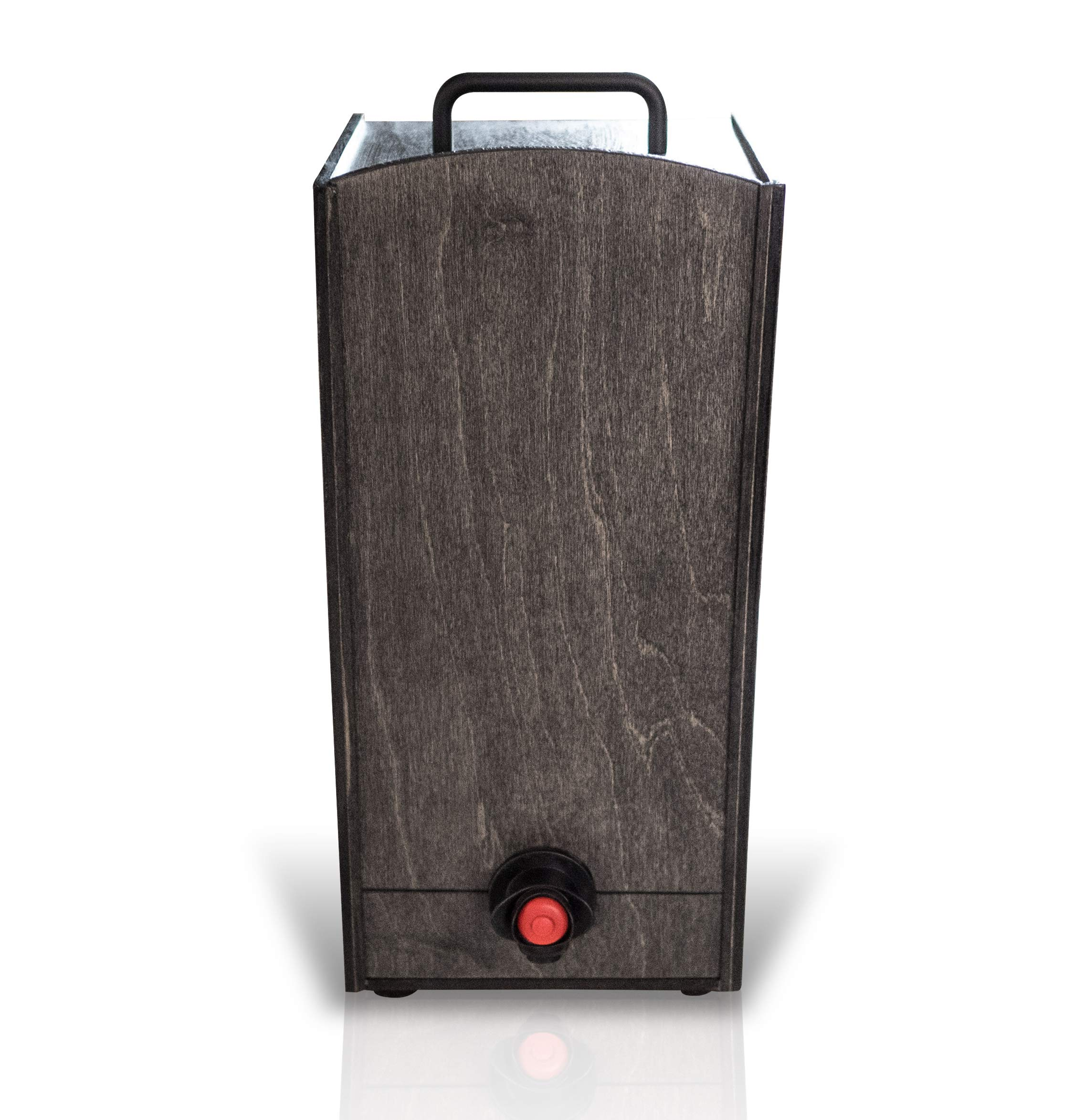 Boxed Wine Wood Case by Winewood | Black Color | Fits 3 Liter Boxes of Wine | Holder, Dispenser, Cover for Boxed Wine