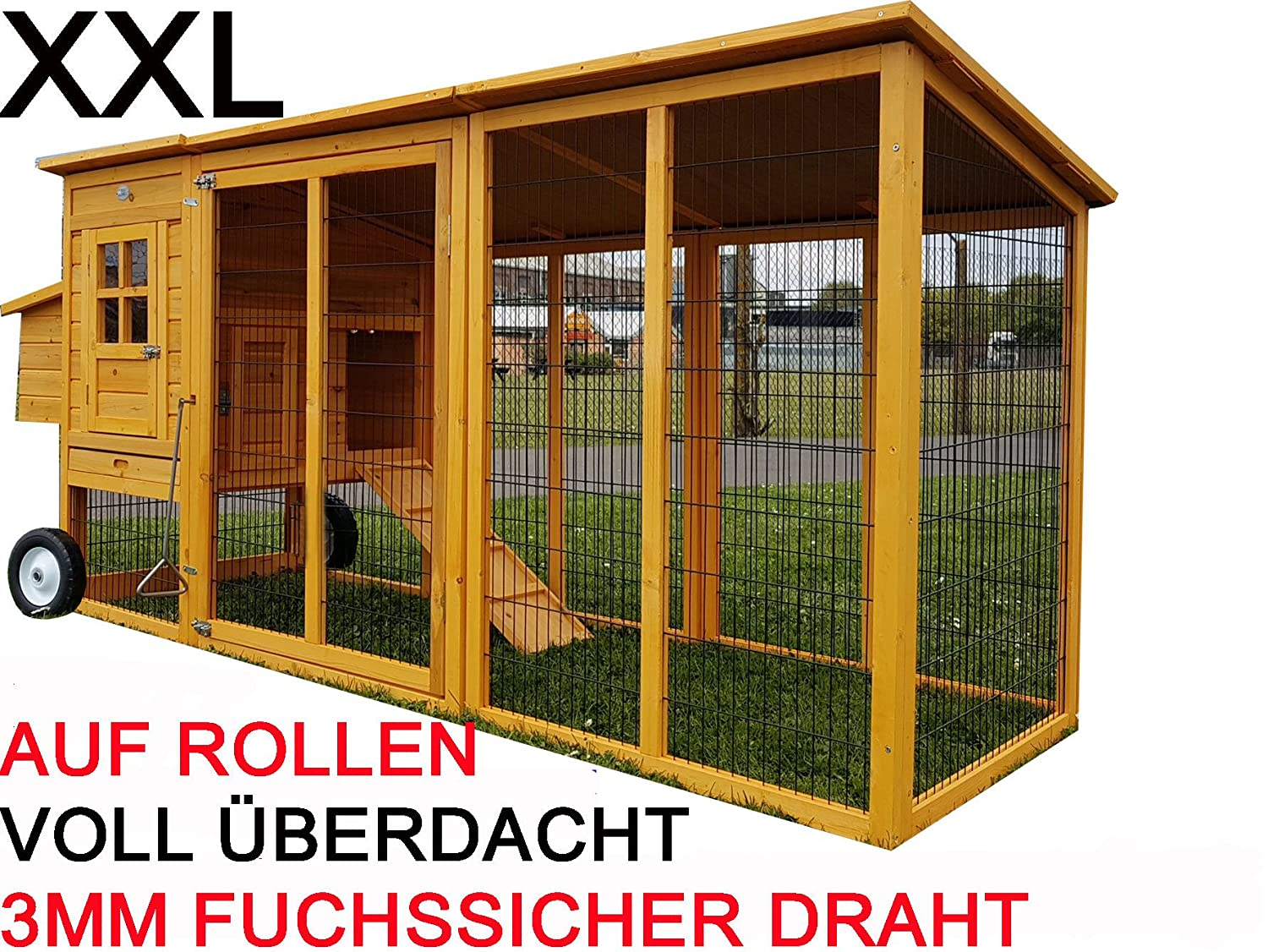 Large XXL Eggshell Buckingham Portable 8ft 100% Fox Proof 3mm Welded & Coated Wire Chicken Coop Hen House Movable on Wheels with Opening Roof Ark Poultry Run Nest Box Rabbit Hutch 2 to 4 birds (NO SHIPING TO NORTHERN IRELAND, ISLANDS, SCOTTISH HIGHLAN