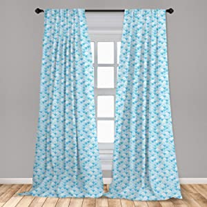 Ambesonne Watercolor Window Curtains, Ocean Waves Inspired Curves in Aquatic Colors Circles Geometric Pattern, Lightweight Decorative Panels Set of 2 with Rod Pocket, 56