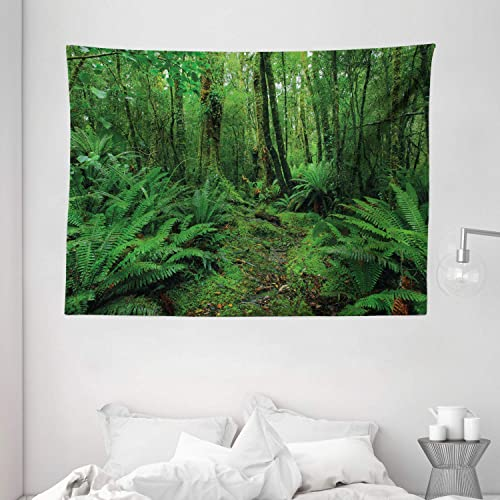 Ambesonne Nature Tapestry, Rainforest Path Bushes Ferns Jungle Woodland Exotic Mother Earth Picture, Wide Wall Hanging for Bedroom Living Room Dorm, 80 X 60 , Forest Green