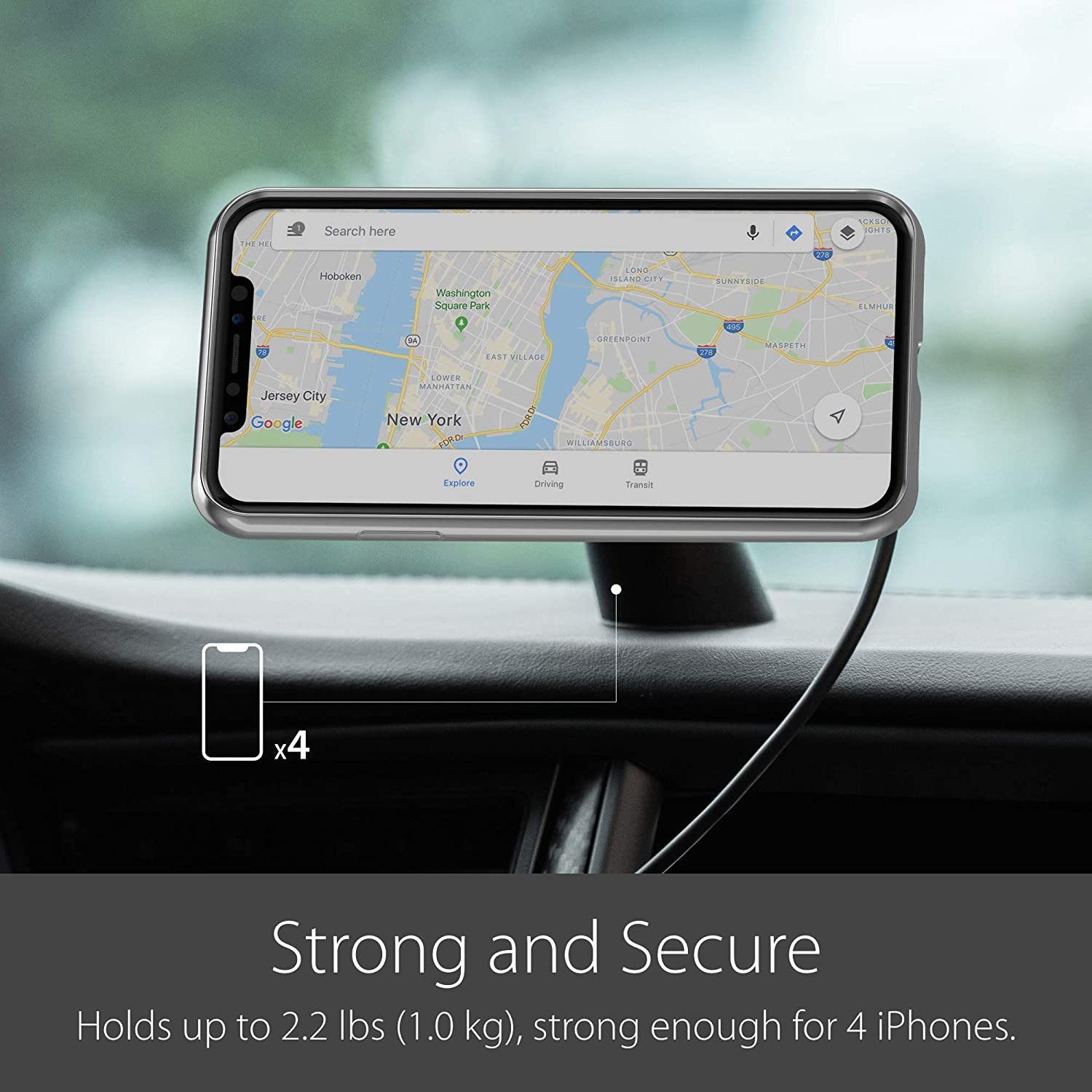 USB A Port Charger Needed Only Compatible with Moshi SnapTo Series Cases Moshi SnapTo Magnetic Car Mount Wireless Charging Qi-Certified Fast Charge Up to 10W Dual Mounting for Dash /& Air Vent