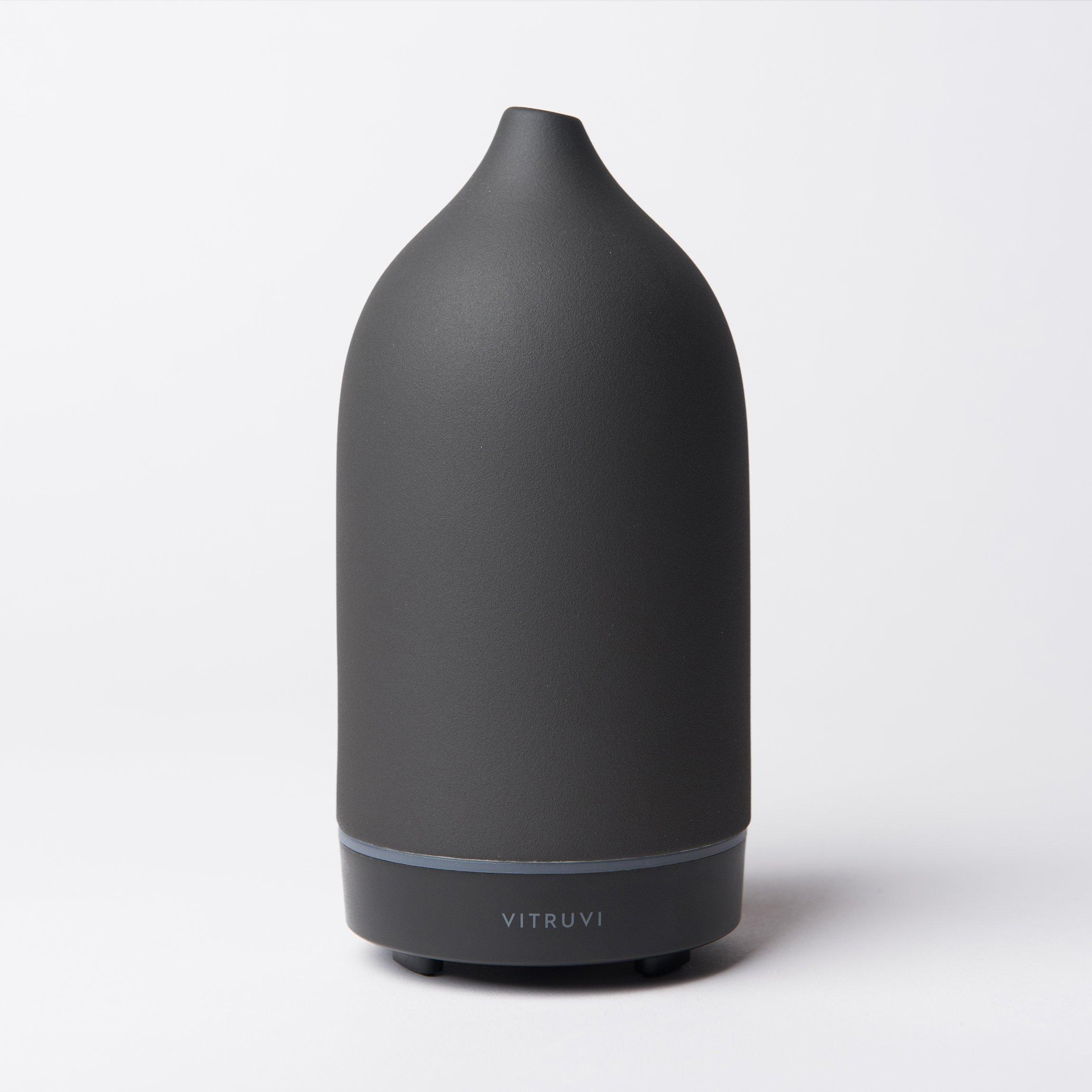 Vitruvi Stone Diffuser, Hand-Crafted Ultrasonic Essential oil Diffuser for Aromatherapy, Ceramic, Black, 100ml Capacity
