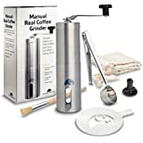 Manual Coffee Grinder - Ceramic Burr for Precise Grind – Elegant Easy to Use Coffee Bean Grinder - Perfect for the Coffee Lover - Great for Home Travel & Camping – Free Bonus Stencil & Spare Burr Lock