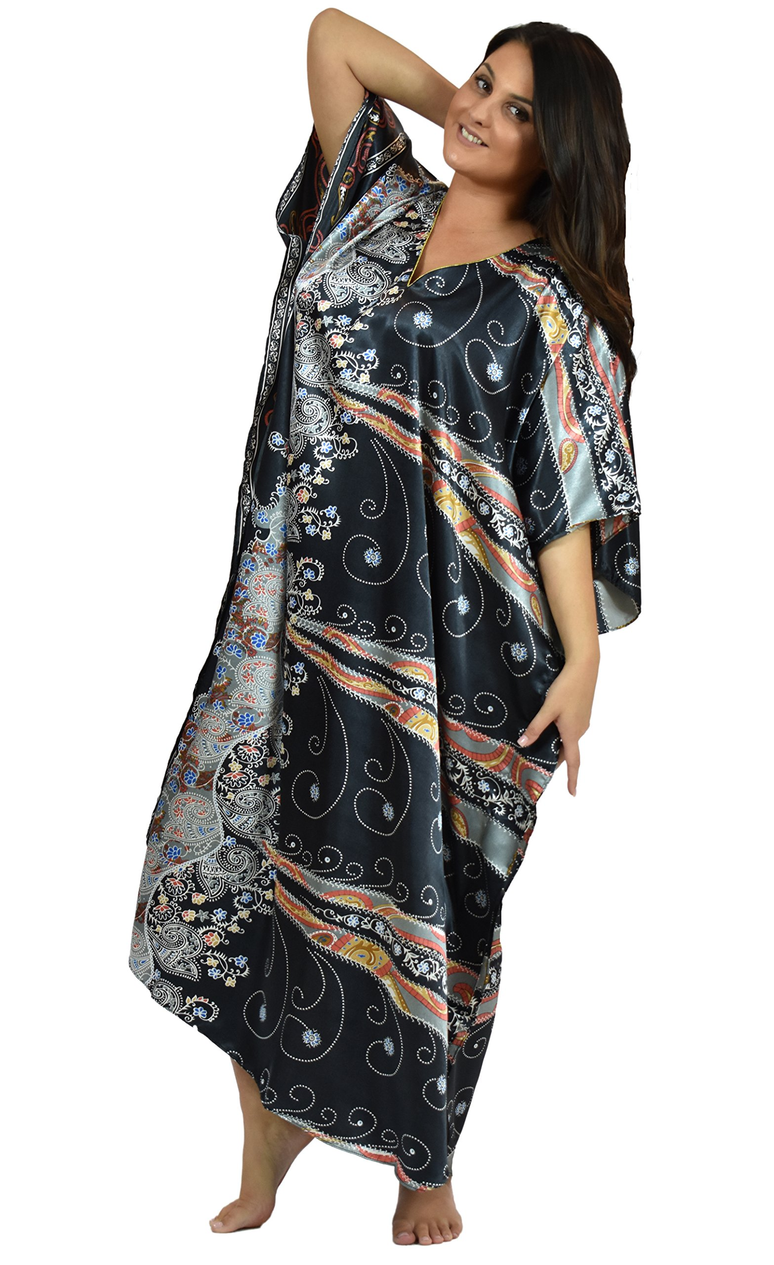 Up2date Fashion Satin Caftan in Desert Nights Print, Style Caf-22C2