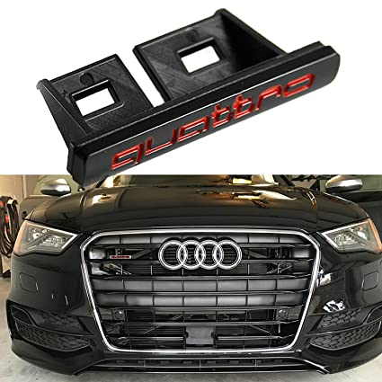 Amazon com: Quattro Front Grille Emblem Badge Black Red For