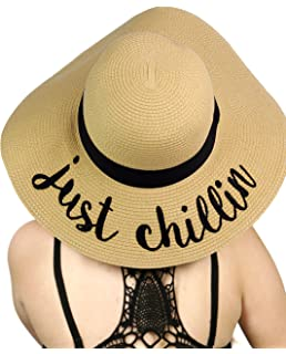 0ee3fb87f99 C.C Women s Paper Weaved Crushable Beach Embroidered Quote Floppy Brim Sun  Hat