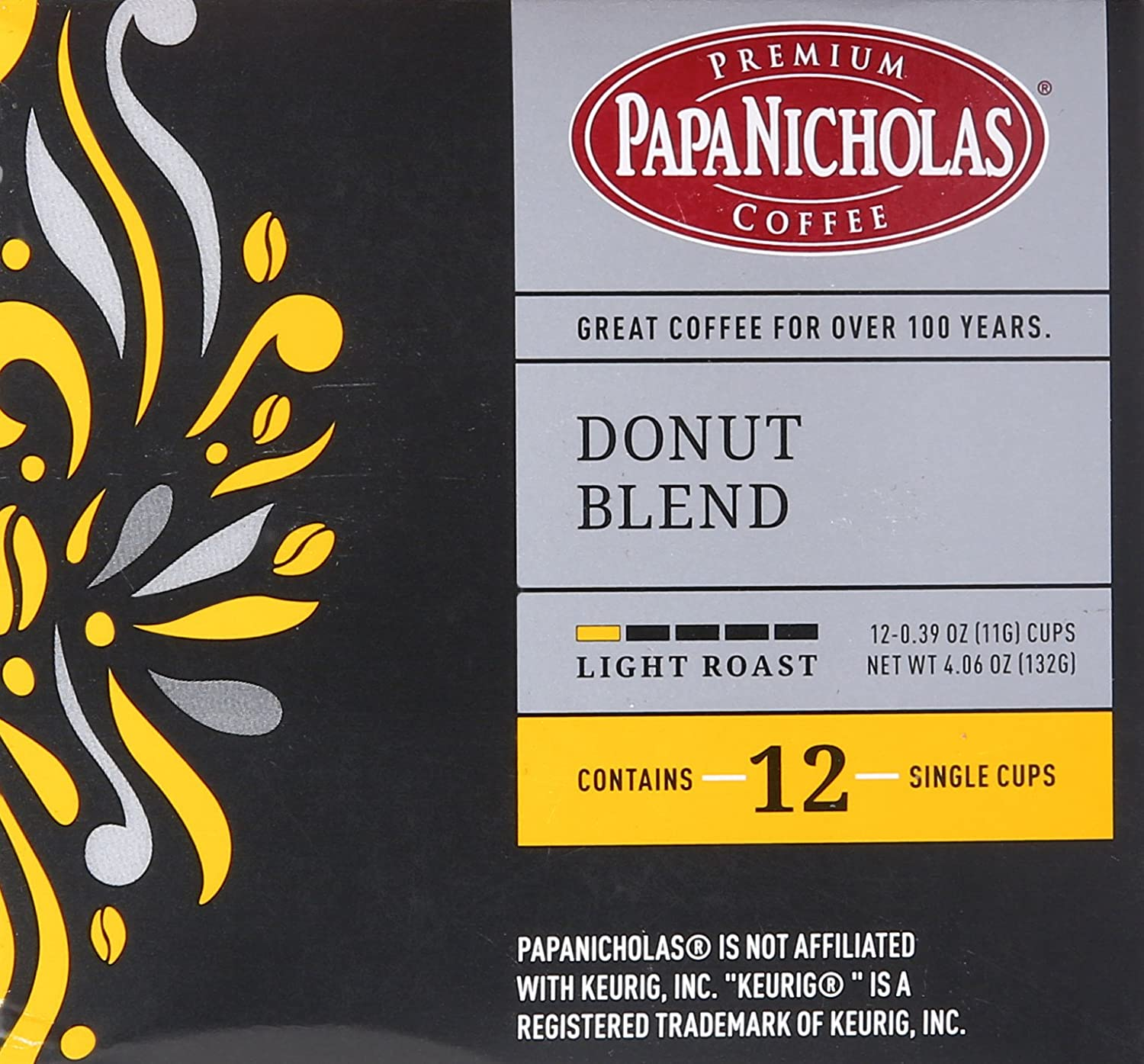 PapaNicholas Coffee Single Serve Coffee Cups Fits Keurig K Cup Brewers,  Donut Blend, 12 Count
