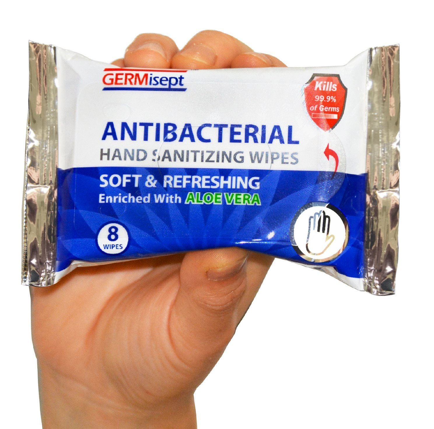 Germisept, Antibacterial Hand Sanitizing Wipe handy portable & convenient (8 Count pack of 12 packs = 96 wipes)