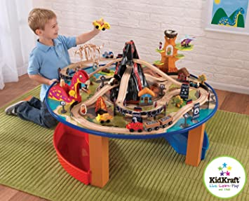 Childrens KidKraft 17978A Dinosaur Wooden Train Set And Play Table Compatible With Brio u0026&; Thomas & Childrens KidKraft 17978A Dinosaur Wooden Train Set And Play Table ...