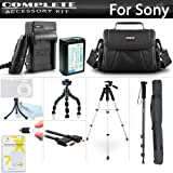"""Advanced Accessory Kit For Sony Alpha a6000, a6500, a6300, a5100, a5000, Alpha a7, a7K Interchangeable Lens Camera Includes Replacement NP-FW50 Battery + Charger + Case + 57"""" Tripod + 67"""" Monopod ++"""