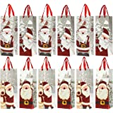 Juvale 12-Pack Wine Bags - Santa Claus-Themed Paper Bags Satin Handles Shopping, Alcohol, 4 Assorted Designs - 4 x 5 x 13.5 Inches