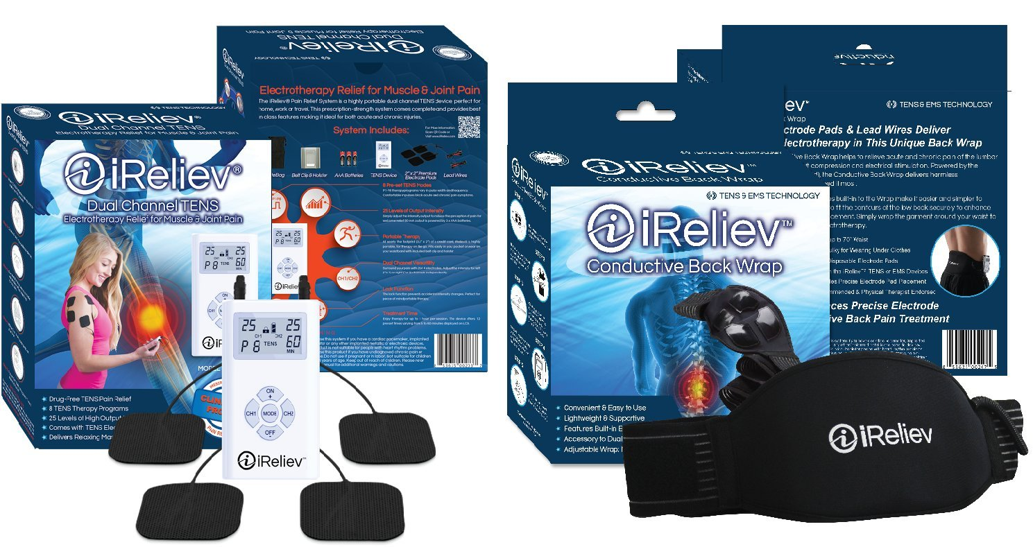 iReliev ULTIMATE TENS Bundle for Back, Knee, Shoulder, Wrist, Elbow: Comes with Conductive Back Wrap & Electrodes for Total Body Care. 100% Guaranteed. Best TENS for all Pain including Muscle or Joint Pain