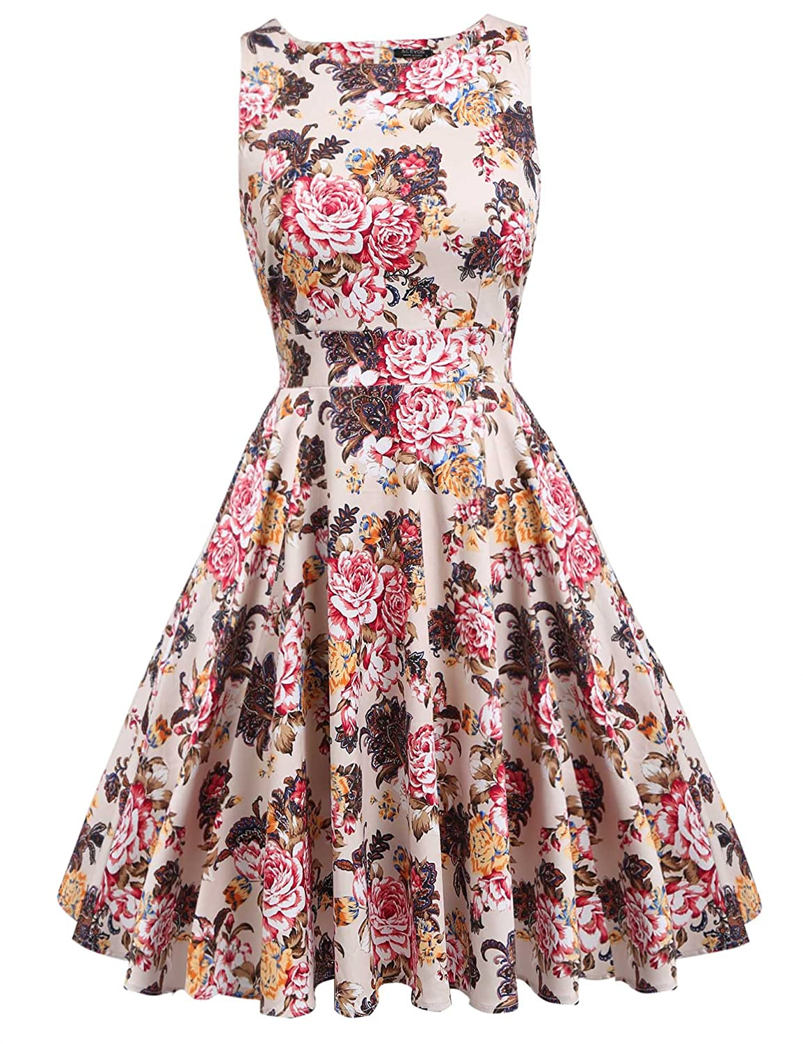 ACEVOG Vintage 1950's Floral Spring Garden Party Picnic Dress Party Cocktail Dress